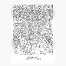 Of Carography Town City Carte Milano Art Italy Italia Map El mejor y más nuevo póster para la sala de decoración del hogar de arte de pared