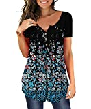 MAYAMANG Women's Floral Tunic Tops Casual Blouse V Neck Short Sleeve Buttons Up T-Shirts (Black+Small Floral, XL)