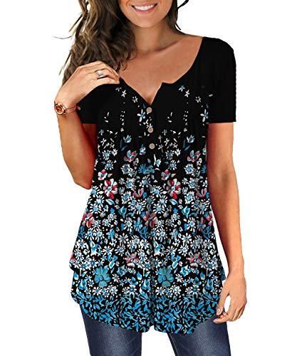 DEMO Tunika Damen Blumen Tops V Ausschnitt Kurzarm Knopfleiste Plissiert Bluse T Shirt Oberteil (Schwarz + Klein floral, M)
