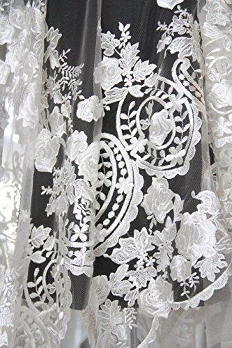 MFPX181 Elfenbeinfarbenes Blumenmuster für Brautkleid, Spitzenstoff, 130 cm breit, Verkauf pro Probe oder 0,5 Yard