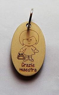 Idea regalo MAESTRA Portachiavi in legno con disegno e scritta PORTACHIAVE originale Dono fine anno scolastico