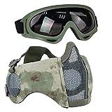 Aoutacc Kit de Protection Airsoft avec Demi-Masque en Maille avec Protection des Oreilles et...