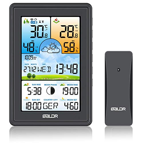 SH.RATE Wetterstation mit Außensensor Innen und Außen 21-IN-1 Funk Wetterstation mit Farbdisplay Digitales DCF-Funkuhr-Thermometer Hygrometer und Uhrzeit, 150 Städte Sonnenauf- und -untergangszeiten