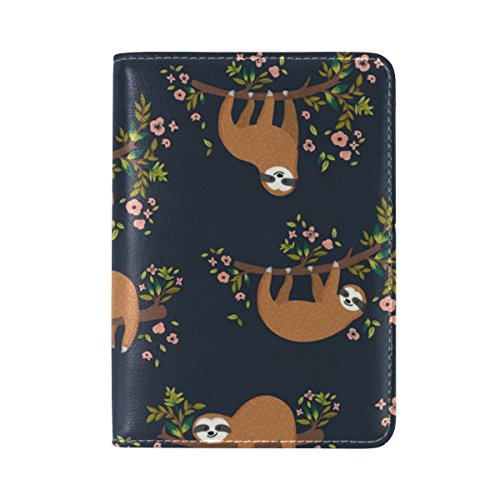 ALAZA Sloth Animal Flower Tree Travel Passport Covers Holder Case Protector Waterproof