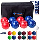 Bocce Ball Game Set for Adults, Families 107 mm - Complete Bocce Yard and Lawn Games with Carrying and...