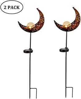 NOPTEG Garden Solar Lights Pathway Outdoor Moon Crackle Glass Globe Stake Metal Lights,Waterproof Warm White LED for Lawn,Patio