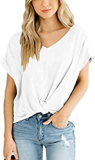 86270502 SAMPEEL Women's Casual T Shirts Twist Knot Tunics Tops