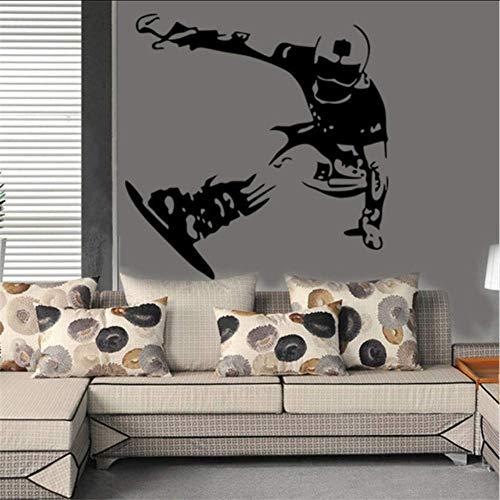 Snowboard Skifahren Wallpaper Skating Board Aufkleber Jungen Schlafzimmer Vinyl Aufkleber Wandkunst Wandbild Poster Wohnkultur 57X58Cm