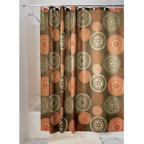 "iDesign Bazaar Fabric Shower Curtain for Master, Guest, Kids', College Dorm Bathroom, 72"" x 72"", Brown"
