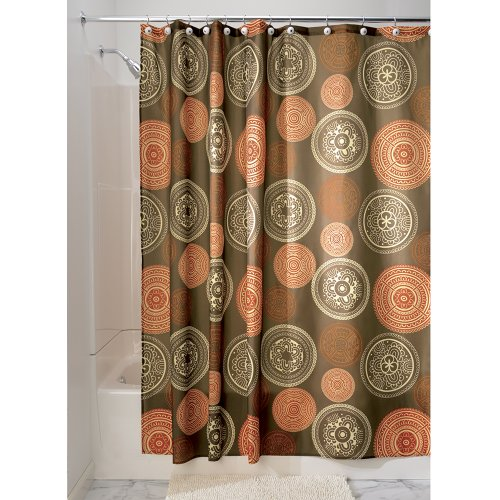"iDesign Bazaar Fabric Shower Curtain for Master, Guest, Kids', College Dorm Bathroom, 72"" x 72"", Brown"