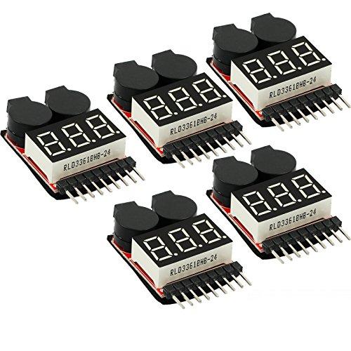 CAMWAY 5PCS 2 in 1 1-8s Tester di Tensione per Batteria Lipo, Allarme Batteria Tensione Bassa, RC Low Voltage Buzzer Alarm, Monitor Batteria Tester per 1-8s Lipo Li-ion LiMn Li-Fe