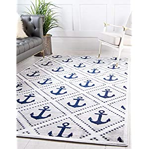 Unique Loom Metro Collection Modern Nautical Geometric Anchor Gray Area Rug (4′ 0 x 6′ 0)