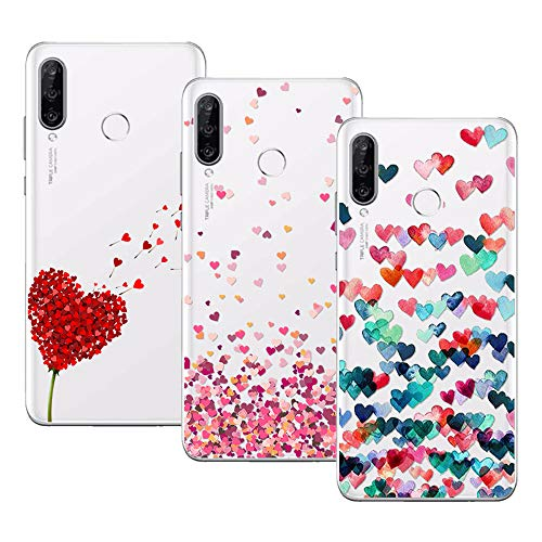 Young & Ming Cover per Huawei P30 Lite, (3 Pack) Morbido Trasparente Silicone Custodie Protettivo TPU Gel Case, Amore
