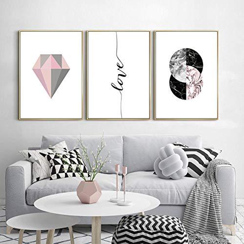 Moderno Abstracto Rosa Gris Geometría Diamante Lienzo Pinturas Amor Arte de la pared Cuadros Impresiones Sala de estar Decoración Sin marco