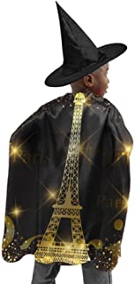 Fenda Eiffel Tower Vector Gold Eiffel Tower Adult Hooded Cloak Men Cloak Cape Witch Cloak and Hat Dress Up for Halloween Birthday Party