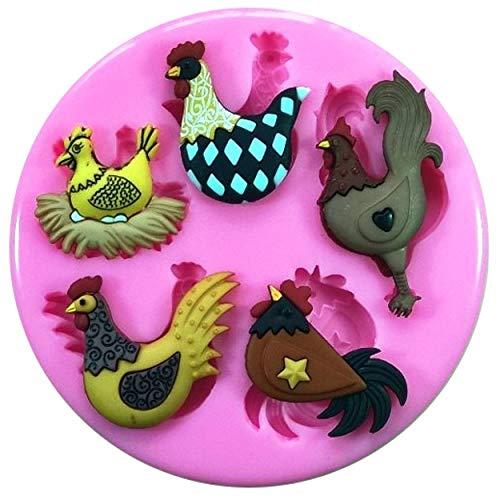 Poulailler Poule Coq oeufs Moule Moule en silicone pour décoration de gâteaux gâteaux en pâte à sucre Fairie Blessings