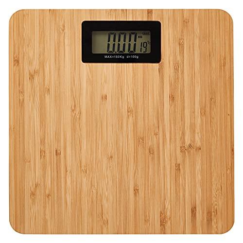 Bilancia da bagno digitale con piattaforma in bambù. Indicatore di temperatura e livello della batteria sul bancone. Capacità massima di 180 kg. Pronta all'uso.