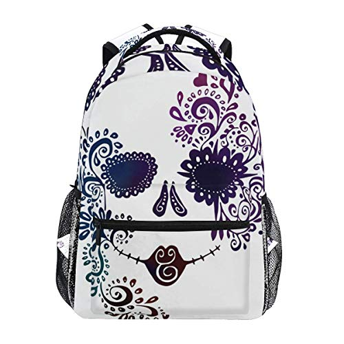 Daypack Traditional Day of The Dead Backpack School Bookbag Travel Stylish Lightweight Durable Shoulder Bag Printed Unique College Student Casual Gift