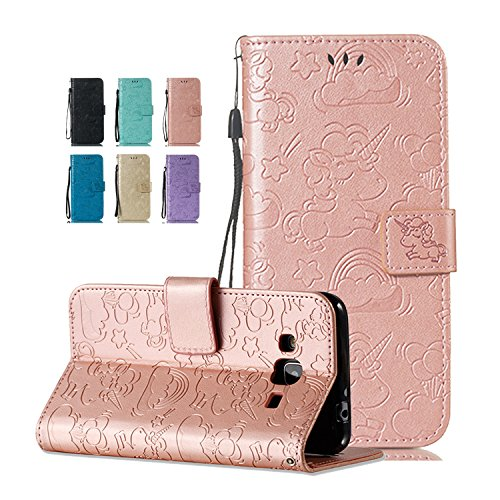 Samsung Galaxy J7 2016 Hülle Einhorn Rose Gold Flip Case Geprägtes Metallisches Magnetverschluss Ledertasche Bookstyle Wallet Cover Tasche 360 Grad Stoßfest