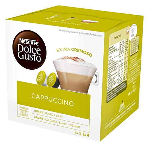 NESCAFÉ Dolce Gusto Cappuccino, 16 Kaffeekapseln (Arabica und Robusta Bohnen, Vollmundiger Kaffee und lockerer Milchschaum, Aromaversiegelte Kapseln) 1er Pack (1 x 16 Kapseln)