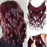 Extensiones con Hilo Pelo Natural Rizadas Wire in Hair Extension Cabello Humano Una Piezas Sin Clip 100% Remy Hair Extension 55cm-75g 99J# Vino Rojo