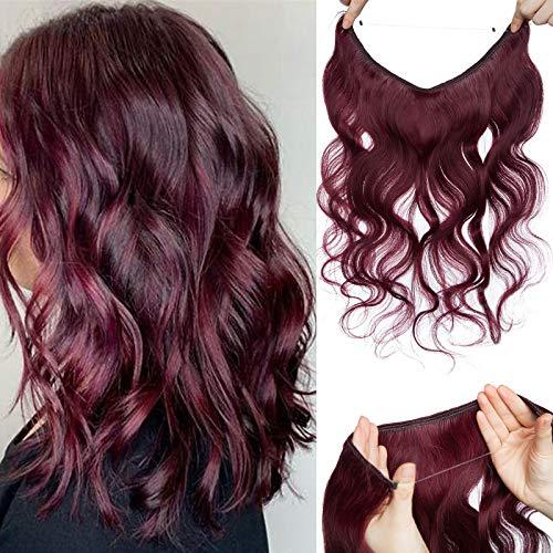 55cm - Extension Filo Invisibile Capelli Veri Ricci 75g Remy Human Hair Extension Capelli Naturali Filo Trasparente - 99J Rosso Vino