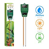 Kensizer Soil Tester, 3-in-1 Soil Moisture/Light/pH Meter, Gardening Tool kit for Plants Care, Digital Plant Thermometer, Water Meter for Indoor & Outdoor, No Battery Required