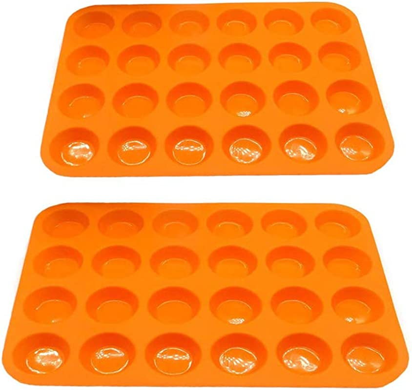 100 FDA Approved BPA Free 24 Non Stick Silicone Molds DIY Mini Muffin Pan Silicone Cupcake Baking Cups For Muffin Tins 2Pcs Orange