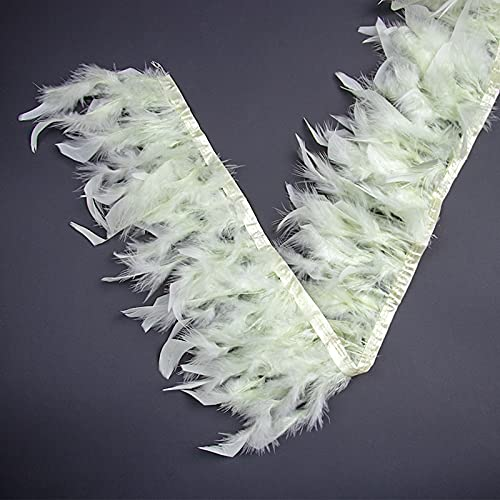 LIUXIN 2 Metros, Adorno Beige, Plumas de Pavo mullidas,Flecos, decoración de Vestido de Fiesta deBoda, 15-20 cm, Sombrero juju, decoración de Plumas