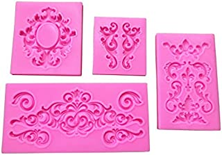 Joinor 4pcs Baroque Style Curlicues Scroll Lace Fondant Silicone Mold For Cake Border Decorations, Cupcake Topper, Jewelry, Polymer Clay