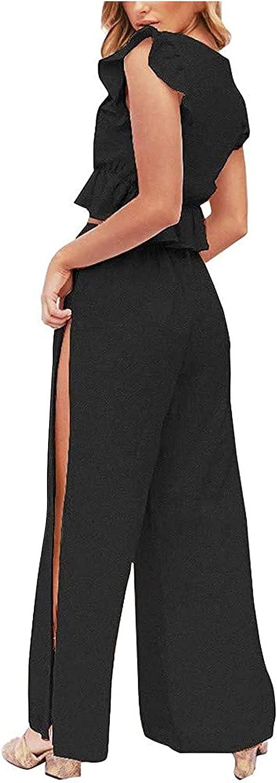 Women Suits Sets, Women's Two-Piece Deep V-Neck Ruffled Blouse Side Slit Drawstring Wide-Leg Pants