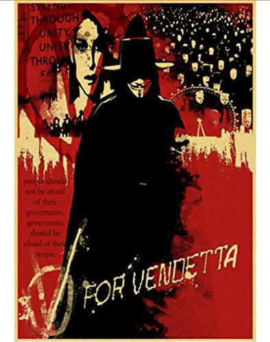 Póster De Lienzo Vintage Classic Movie V para Vendetta Poster Wall Stickers Poster Prints Bar Y Decoración del Hogar 50 * 70Cm (Sin Marco)