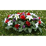 Deluxe-Spring-Lillies-Roses-Cemetery-Saddle-Arrangement