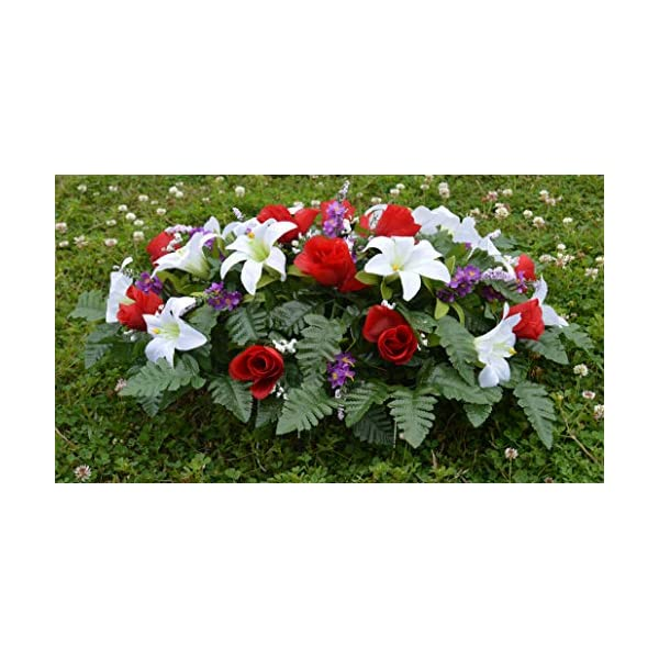 Deluxe Spring Lillies & Roses Cemetery Saddle Arrangement