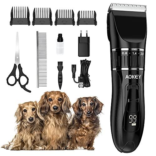 AOKEY Hundeschermaschine, Kabellos Tierhaarschneidemaschine mit Verstellbarer Klinge, 2 Schnittgeschwindigkeiten , Haarschneider für Haustiere mit 4 Führungskämmen/Schere/ Edelstahlkamm