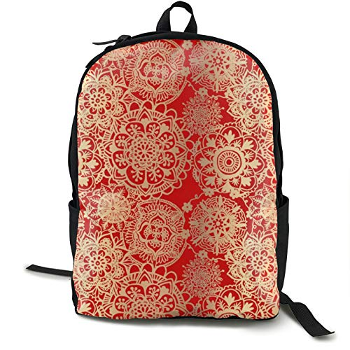Lightweight Backpack Rucksack Foldable Ultralight Packable Backpack,Red and gold mandala Unisex Durable Handy Daypack for Travel & Outdoor Sports