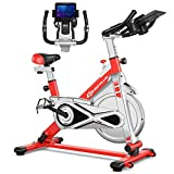 Goplus Adjustable Exercise Bike, Stationary Silent Belt Drive Bicycle, Dual-Spring Shock Absorption Design, Cup/Phone Holder and Electronic Display, Indoor Cycling Bike, 22 LBS Flywheel (Red)