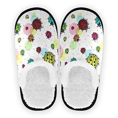 Mnsruu - Pantofole da donna, in cotone, motivo coccinelle colorate, taglia M, (Multicolore), 37/40 EU