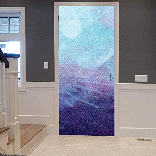 Murales para puertas para puerta interior armario Vista al mar efecto 3D Papel pintado puerta Autoadhesivo Impermeable PVC 77X200cm Cuadro azul violeta
