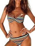 OLIPHEE Bikini da Donna Strisce con Colore Brillante Costume da Bagno Brasile a Due Pezzi Top + Slip per Donna e Ragazze Stile 1 Medium