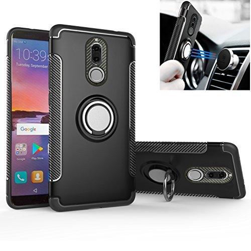 MingWei Mate 10 Lite Coque pour Huawei,[Bague Rotative Cache 360 °] Protection en Fibre de Carbone [Double Anti-Choc] Compatible avec [Support Voiture Magnétique] (Mate 10 Lite, Noir)