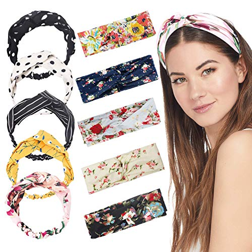 10 Pieces Women Head Band,Girls Headwraps Hair Bands, Boho Headbands for Women,Bohemian Floral Style, Vintage Flower Printed Elastic Head Wrap Twisted Hair Accessories…