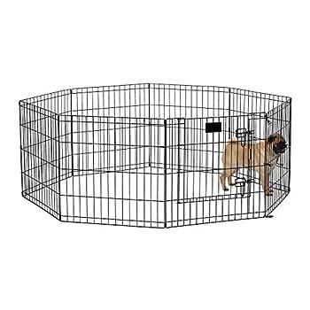 MidWest Foldable Metal Dog Exercise Pen / Pet Playpen Black w/ door 24 W x 24 H 1-Year Manufacturer s Warranty