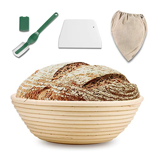 10 Inch Bread Proofing Basket set, Round Banneton Proofing Basket + Bread Lame + Dough Scraper + Linen Liner Cloth for Professional & Home Sourdough Bread Baking