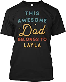 This Awesome dad Belongs to Layla XL - Black Tshirt - Hanes Tagless Tee