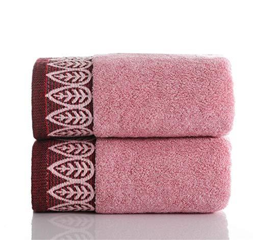 Wunhope Lot de 2 serviettes de bain - Séchage rapide - 100 % coton - Lavable en machine - Doux et absorbants - Cadeau (rose x 2 pièces)