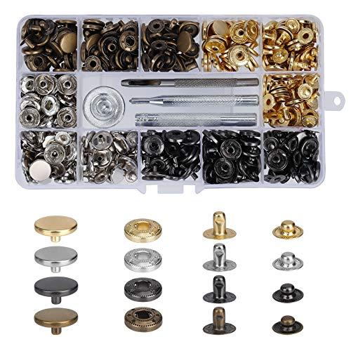 Botones de Metal Kit de Snap Botones de Presión Cierres a Presión de Cuero con 4 Herramientas de Ajuste Adecuado para Cuero DIY Mochila Sombrero 120 Piezas (4 Colors)
