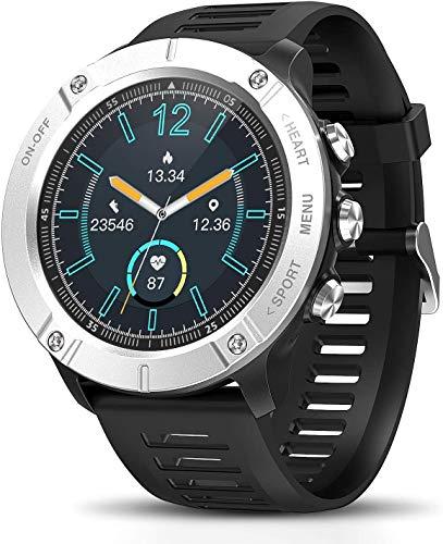 DOOK Smartwatch Mujer Hombre,Relojes Inteligentes Impermeable IP68 con Pulsómetros Podómetro Cronómetros Monitor De Sueño Contador Pulsera Actividad Inteligente para Android iOS Silver
