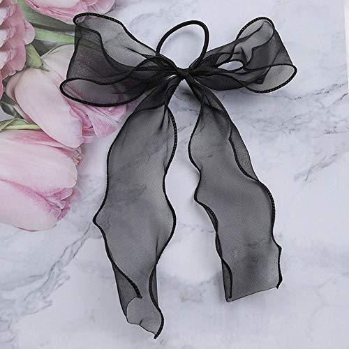 Fijnere perzik hart print boog satijn lang lint paardenstaart sjaal haar stropdas scrunchies dames meisjes elastische haarbanden haaraccessoires, zwart