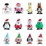 FunsLane Juguetes navideños a Cuerda, 12 Piezas de Reloj de Papá Noel, muñeco de Nieve, Alce, Juguetes para Caminar, Relleno de Bolsa de Regalo para niños, Regalo Secreto de Santa